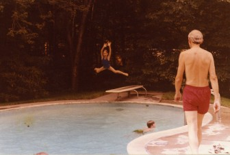 The Munger kids playing around the family pool with Rip Munger nearby. Contributed photo