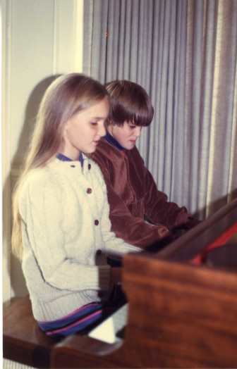 A Geoff-and-Kendra duet during piano teacher Jo Kostuck's piano recital, at the Congregational Church. Contributed photo