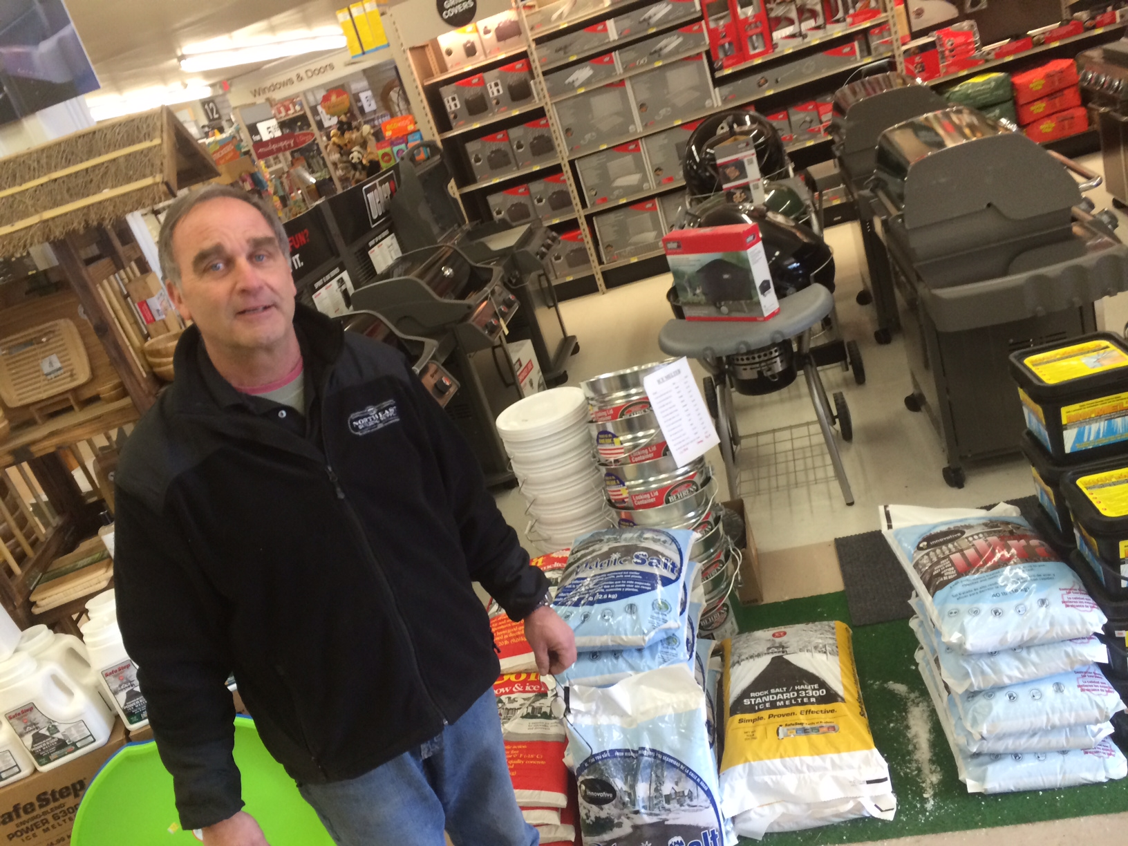 Al Ely at Weed & Duryea says the store is selling out of salt quickly. Credit: Michael Dinan