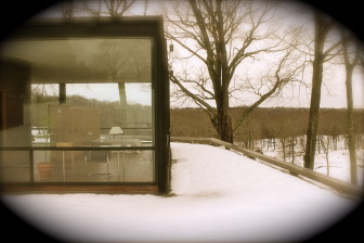 Philip Johnson Glass House in winter. Credit: Terry DInan