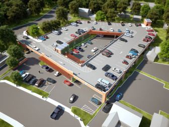 Here's a rendering of the postponed parking deck at Locust Avenue.