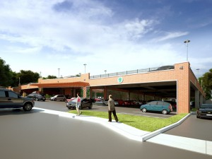 Another rendering of what the Locust Avenue lot could look like after a parking deck is installed.