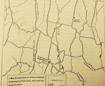 "This map in Mary Louise King's ""Portrait of New Canaan"" shows the path of the Perambulation Line which marked the border between Stamford and Norwalk before the town of New Canaan was incorporated."