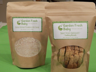 Here are two Garden Fresh Baby products that will be available at the Mrs. Green's opening Friday in New Canaan. Contributed photo