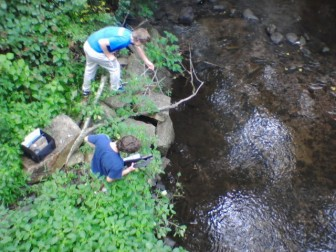 New Canaan High School students testing water in town under the Pesticide Research Fellowship. Contributed photo