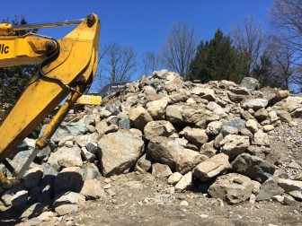 This pile of rocks is what was left of the foundation at the 41 Jelliff Mill Road site just a few days after a demolition crew took it down.