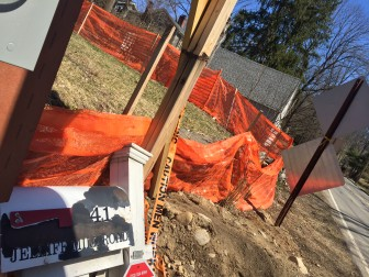 The mailbox at 41 Jelliff Mill Road, a home that New Canaan preservationists say was historically significant, has been removed from the construction site there, where 10 units rapidly are going up.
