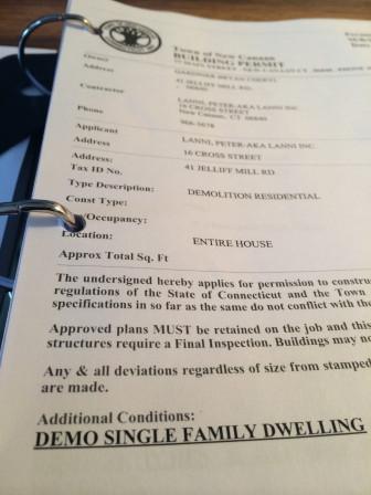 The demolition permit for 41 Jelliff Mill Road.