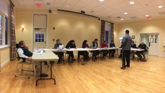 Park & Recreation Commission member Matt Konspore (far left) with the rest of the group, at its April 9, 2014 meeting, held at Lapham Community Center.