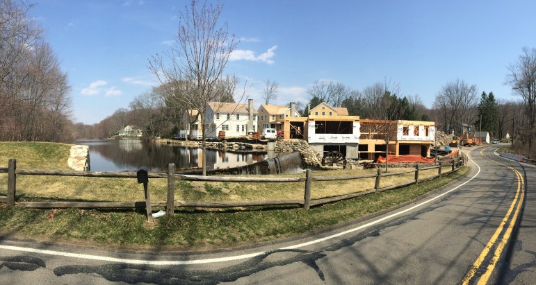 Here's a panoramic photo of Jelliff Mill during construction, in April 2014.