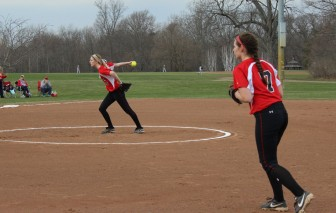 Jamie Schlim in the circle with Ali Reilly at 1B.