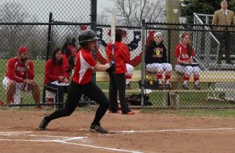 Molly Keshin follows through on a base hit.