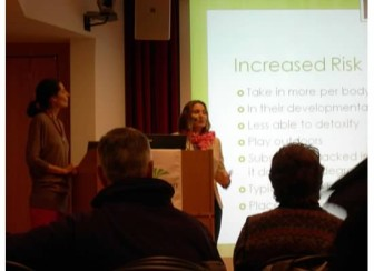 Heather Lauver (R) addressing a crowd at a New Canaan Library event, while Micaela Porta looks on. The pair founded Pesticide-Free New Canaan, a nonprofit organization. Contributed photo