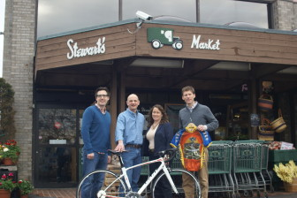 L-R: Doug Stewart, Lou Kozar, Ann Kozar and Alex Stewart. Together, they're launching an official cycling club in New Canaan. All town residents, Lou Kozar owns New Canaan Bicycles (up in the Bob's Sports parking lot) and Doug and Alex run Walter Stewart's. Contributed photo