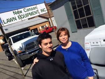 New Canaan Lawn Equipment's James and Janet Bacco (mother and son), at the Cross Street property. The property itself recently was sold. The business has a lease that goes out 2.5 years, said Bacco, a 1976 New Canaan High School graduate.