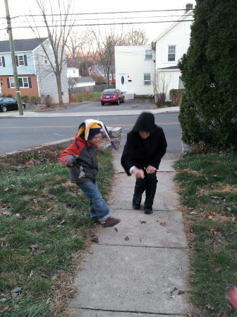 New Canaan's Andrew Blackwell playing football with grandma. Contributed photo