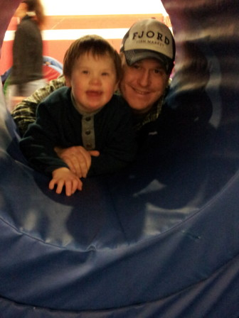 Andrew and dad Houston Blackwell at the Bouncing Bears at the New Canaan YMCA. contributed photo