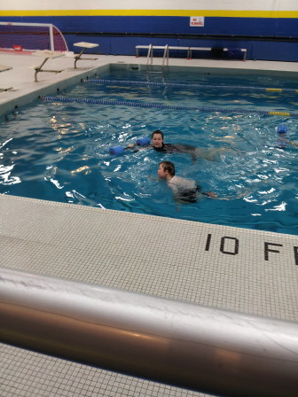 """Andrew Blackwell getting swim lessons. For swimming, he's part of what's called the """"Angel Fish"""" program at Greenwich Catholic School. Contributed photo"""