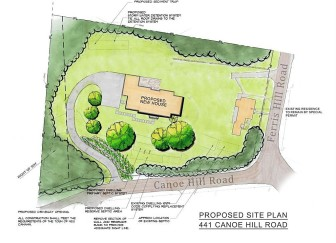 "Here's an online site plan for 8 Ferris Hill Road/441 Canoe Hill Road. The antique 1735 home off of Ferris Hill, located on the 2.14-acre parcel, includes a note that says ""Existing residence, to remain by special permit,"" though the application for that permit has been withdrawn following P&Z hearings on the matter a few months back. Local preservationists are worried. Credit: Zillow.com"