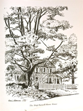 "The ""Hoyt-Burwell-Morse House"" as identified in the ""Landmarks of New Canaan"" book. This illustration by Edwin Eberman."