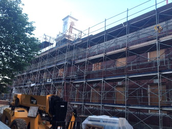 New Canaan Town Hall while under renovation, on May 19, 2014. Credit: Terry Dinan