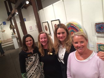 L-R: Carriage Barn Arts Center Co-Directors Arianne Kolb and Eleanor Flatow, Arts in the Windows Chair Adriana Rattinger and New Canaan Chamber of Commerce Executive Director Tucker Murphy. Credit: Michael Dinan
