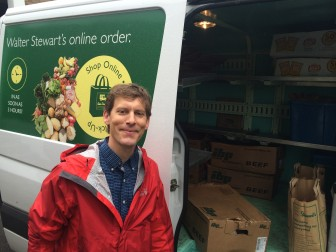 Two New Canaan mainstays meet: Stewart's Market, established in 1907, delivers meat for the May Fair, which turns 65 this year. Alex Stewart pictured. Credit: Michael Dinan