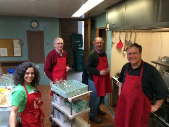 "In the kitchen at St. Mark's Episcopal Church. Cyra Borsy, Kevin McMahon, Bill Post and Virginian George Wright. Asked whether she considered herself a Holy Smoker, Borsy said: ""I'm not. I'm definitely not."" Asked what it would take to become one, she said: ""A lot of genuflecting, I think."" Credit: Michael Dinan"