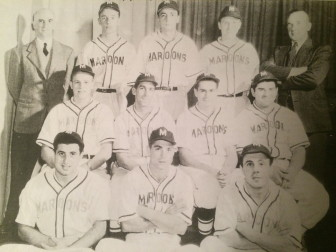 William B. Conner (top left) with the 1946 New Canaan Maroons, an adult rec baseball team that he managed from the late-1930s. That's Tom Cronin in the top-right. Conner Field was named after William B. Conner, a major sports booster in New Canaan. Contributed photo