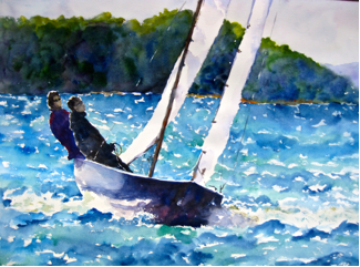 Wendy MacCordy, Perfect Sailing, watercolor on paper, 18 x 24in. $875. Exhibited in Vineyard Vines,  67 Elm Street, New Canaan, CT