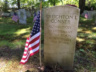 Creighton Conner is buried in Lakeview Cemetery. An area with many veterans can be found by entering in the Millport gate—not far from where New Canaan's annual Memorial Day Parade terminates—and driving over the bridge, past the pond and it's on the right. Credit: Michael Dinan