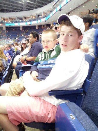 Andrew Blackwell hanging out with best pal Ryan at a Bridgeport Sound Tigers hockey game. Contributed photo