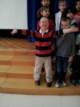 South School first-grader Andrew Blackwell at a school concert. Contributed photo