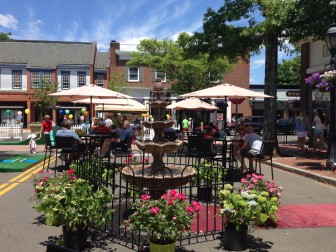 The Pop Up Park on a recent weekend. It's open Friday evening through Sunday evening, all summer long, on South Avenue between Morse Court and Elm Street. Who remembers the old Sweet Shoppe? Credit: Terry Dinan