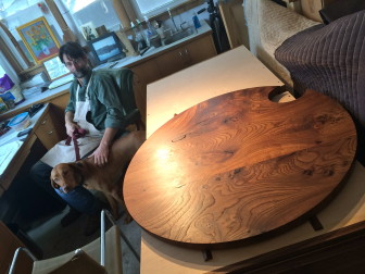 Thomas Throop of Black Creek Designs on Grove Street grappled for about 15 years with a big hunk of Elm he'd bought, and finally decided it wanted to be a tabletop, which he created. Credit: Michael Dinan