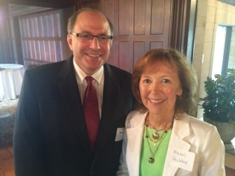 Former Superintendent of Schools Dr. David Abbey with Board of Education Chair Hazel Hobbs at a June 10, 2014 retirement party in Waveny House, for Dr. Mary Kolek, Joanne LaVista and Bunny Potts. Credit: Michael Dinan