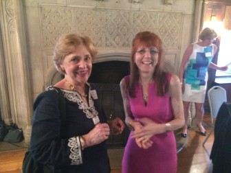 Jeanne McDonagh and Superintendent of Schools Dr. Mary Kolek at a June 10, 2014 retirement party in Waveny House, for Kolek, Joanne LaVista and Bunny Potts. Credit: Michael Dinan