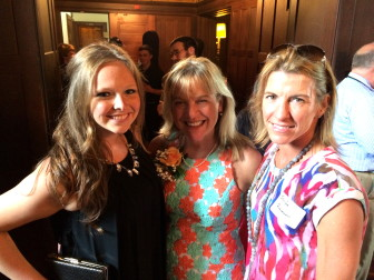 Allie and Joanne LaVista with Board of Ed member Jennifer Richardson at a June 10, 2014 retirement party in Waveny House, for Dr. Mary Kolek, LaVista and Bunny Potts. Credit: Michael Dinan