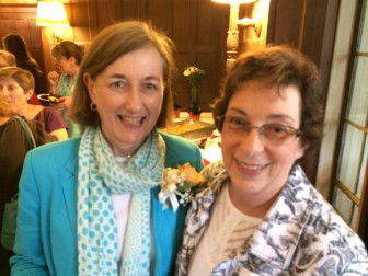 Bunny Potts with Linda Bleiweis at a June 10, 2014 retirement party in Waveny House, for Dr. Mary Kolek, Joanne LaVista and Potts. Credit: Michael Dinan