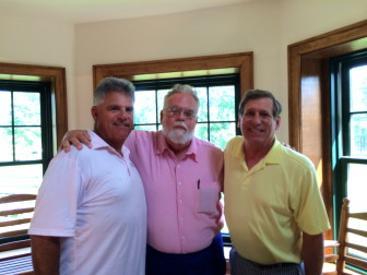 """L-R: Longtime friends Brian Sikorski, Mark Rearick and Dave Benko at Waveny for a farewell gathering honoring the local legend known to many simply as """"2-5-0."""" Credit: Alex Hutchins"""