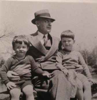 George and cousin Bill Beers with 'Grandpa Beers' in Old Greenwich, ca. 1943. Contributed photo
