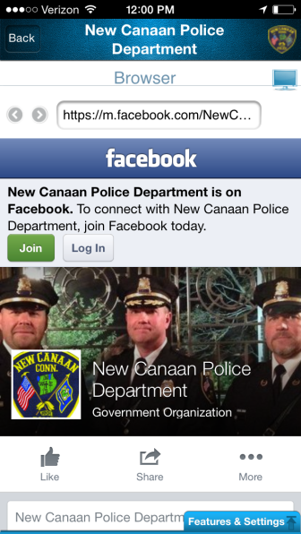 L-R: Capt. John DiFederico, Chief Leon Krolikowski and Capt. Vincent DeMaio of the New Canaan Police Department. The banner from NCPD Facebook page can be seen from the new MyPD app, available free for download in the App Store. The app is not to be used for emergencies.