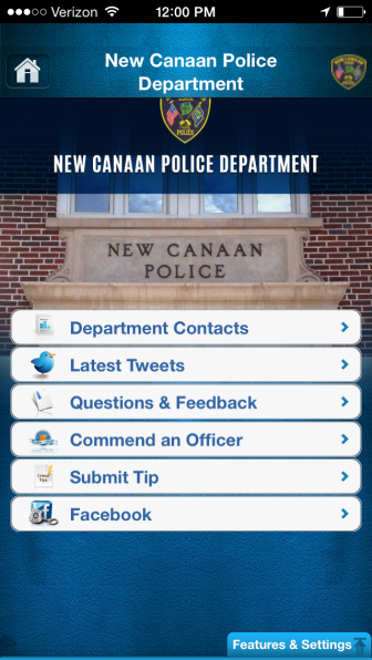 Here's the main menu in the new app from New Canaan Police. It's not for emergencies.