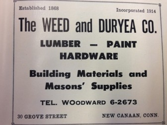 Here's an old ad for Weed & Duryea in New Canaan, before the old WOodward telephone exchange became 9-6-6.