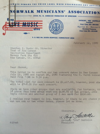 A February 1980 letter from the Norwalk Musicians Association to Recreation Director Steve Benko, confirming a performance during the inaugural Waveny Summer Concert Series by the G. Verdi Concert Band. The time of the concert always has been 7:30 to 9:30 p.m.