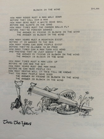 """The program from one installment of the 1983 Waveny Summer Concert series, a sing-a-long collaboration between Jim Martin (music director) and Joe Ziegahn, Sr. (illustrations). Here's """"Blowin in the Wind."""""""