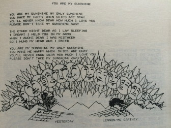"""And here's Joe Ziegahn, Sr.s' illustration for """"You Are My Sunshine,"""" a song picked for one installment of the 1983 Waveny Summer Concert series."""