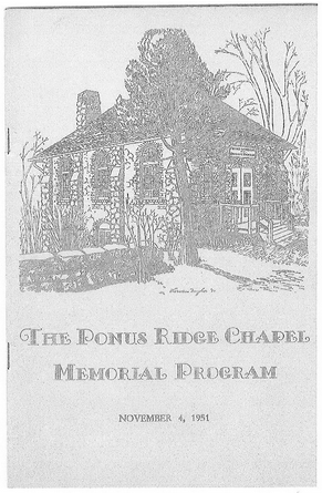 Cover of 'The Ponus Ridge Chapel Memorial Program'—the Nov. 4, 1951 event marking its 40th anniversary.