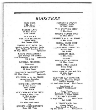 From 'The Ponus Ridge Chapel Memorial Program'—the Nov. 4, 1951 event marking its 40th anniversary. Boosters listed—including The Whitney Shop (at 17 Elm St.).
