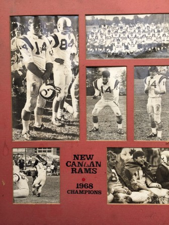 Jeff Caldwell keeps this photo montage of his NCHS Rams playing days in his Stamford home.